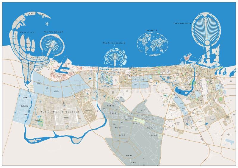 Mapa da grande cidade de Dubai ilustração stock