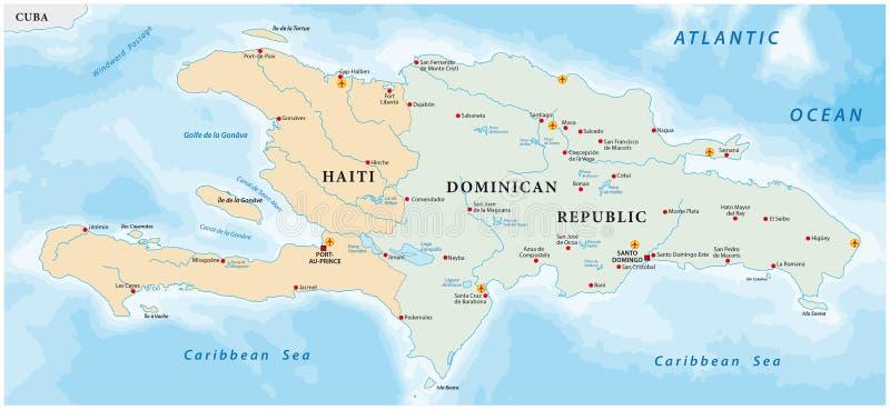 Mapa da ilha das Caraíbas de Hispaniola ilustração royalty free