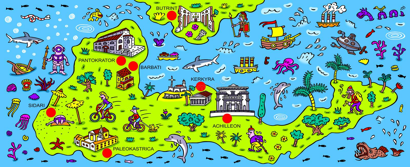 Fabuloso Mapa da ilha grega Corfu ilustração stock. Ilustração de fairy  IT86