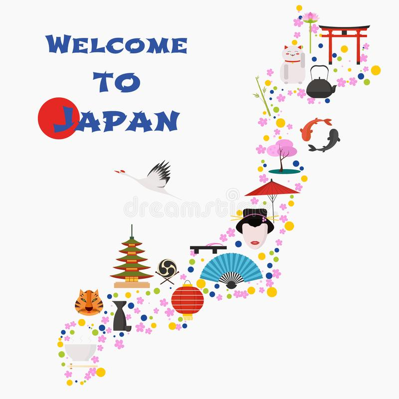 Mapa da ilustração do vetor de Japão, projeto Ícones com porta japonesa, animais ilustração do vetor