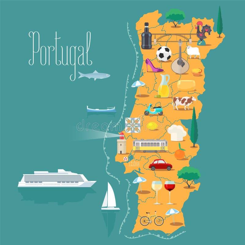 Mapa da ilustração do vetor de Portugal, projeto ilustração royalty free