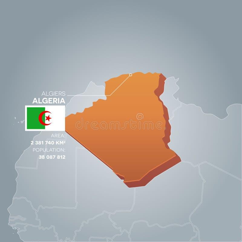 Mapa da informação de Argélia ilustração royalty free