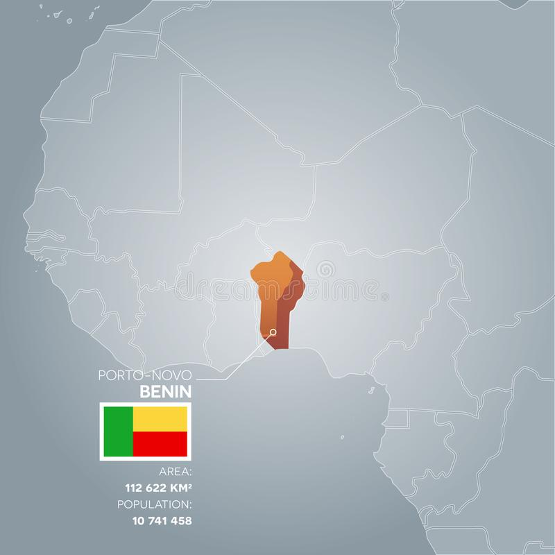 Mapa da informação de Benin ilustração stock