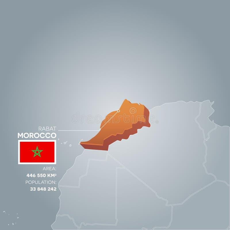 Mapa da informação de Marrocos ilustração royalty free