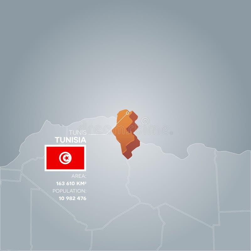 Mapa da informação de Tunísia ilustração stock