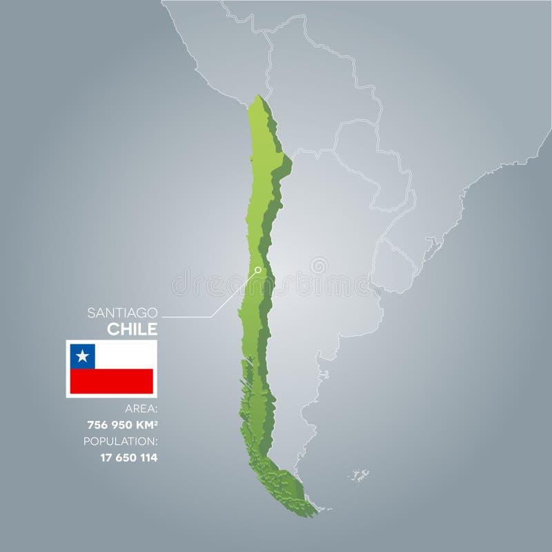 Mapa da informação do Chile ilustração royalty free