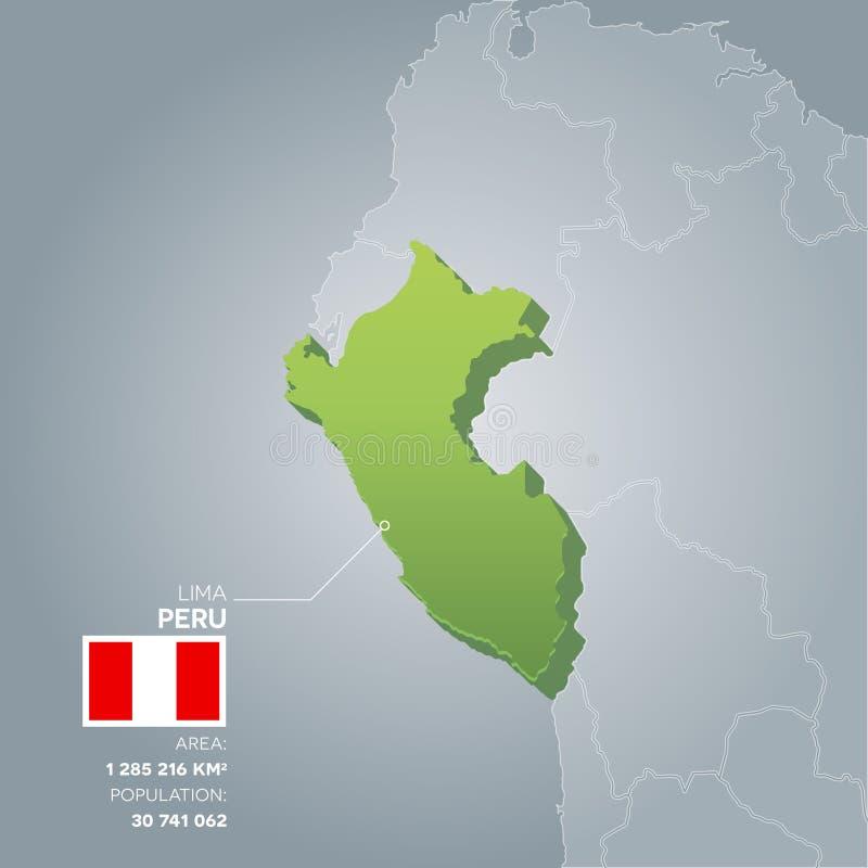 Mapa da informação do Peru ilustração do vetor