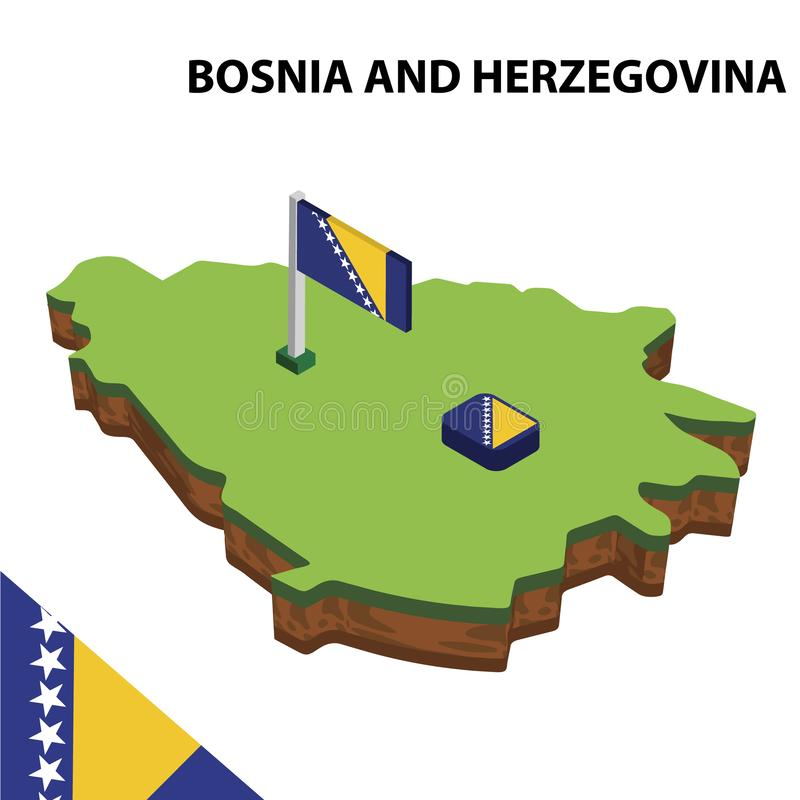 Mapa da informação e bandeira isométricos gráficos de BÓSNIA E de HERZEGOVINA ilustra??o isom?trica do vetor 3d ilustração stock
