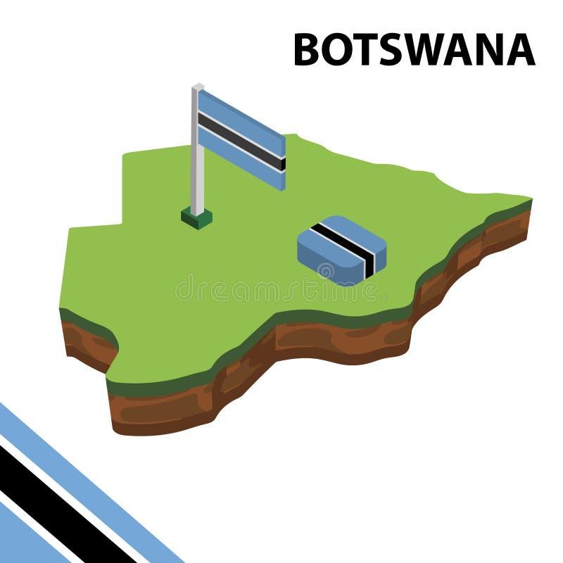 Mapa da informação e bandeira isométricos gráficos de BOTSWANA ilustra??o isom?trica do vetor 3d ilustração royalty free