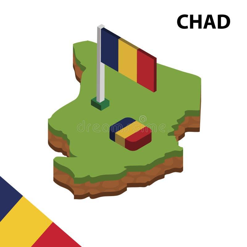 Mapa da informação e bandeira isométricos gráficos de CHADE ilustra??o isom?trica do vetor 3d ilustração royalty free