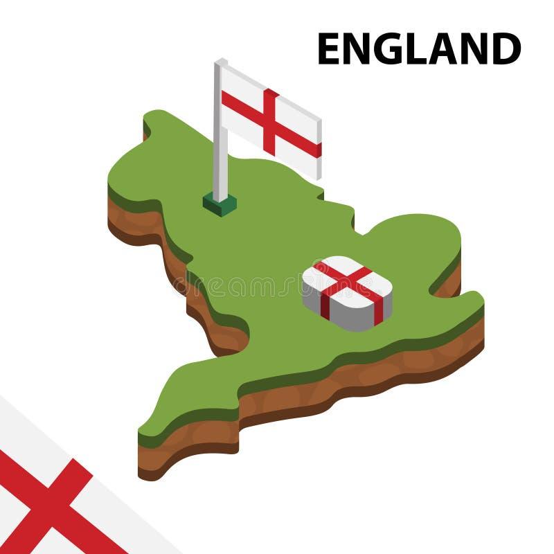 Mapa da informação e bandeira isométricos gráficos de INGLATERRA ilustra??o isom?trica do vetor 3d ilustração do vetor