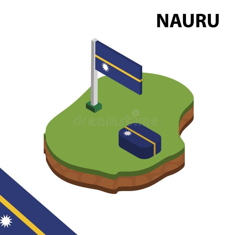 Mapa da informação e bandeira isométricos gráficos de NAURU ilustra??o isom?trica do vetor 3d ilustração stock
