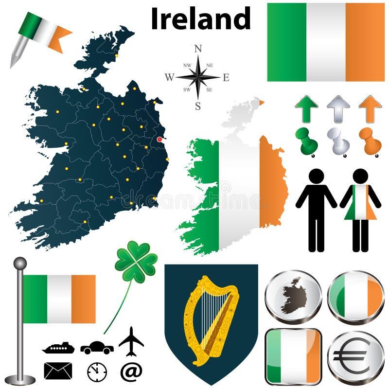 Mapa da Irlanda com regiões ilustração royalty free