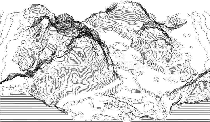 Mapa da linha da topografia Vector conceitos abstratos do mapa topográfico com perspectiva para sua cópia Turismo da montanha imagem de stock