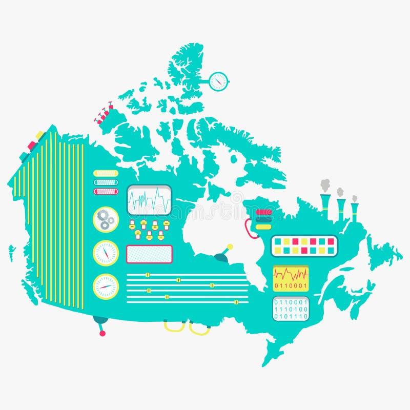 Mapa da máquina de Canadá ilustração royalty free