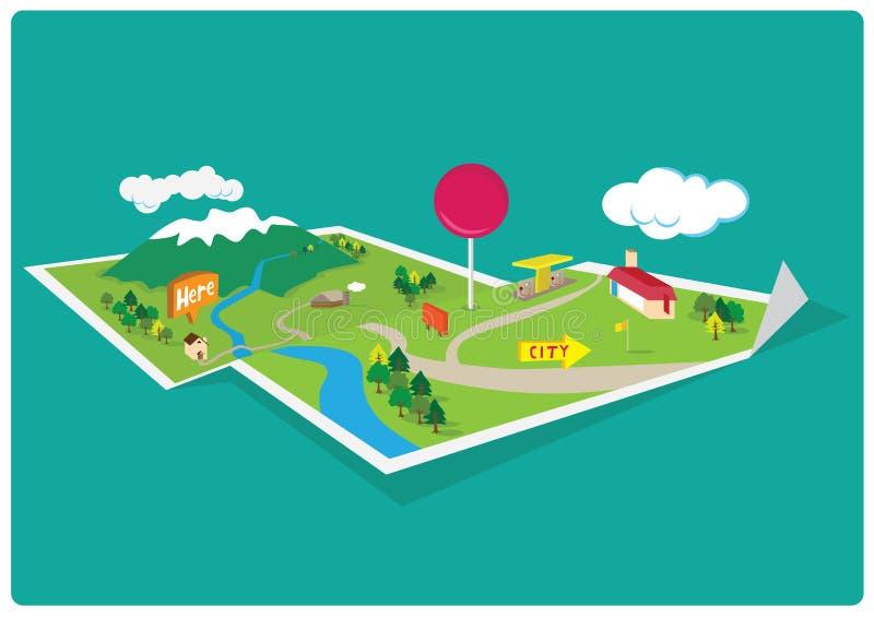 Mapa da montanha de GPS ilustração royalty free