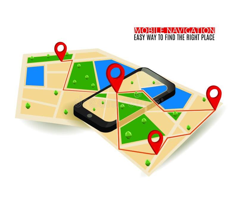 Mapa da navegação de GPS e marcador móveis do pino com dispositivo digital moderno ilustração stock