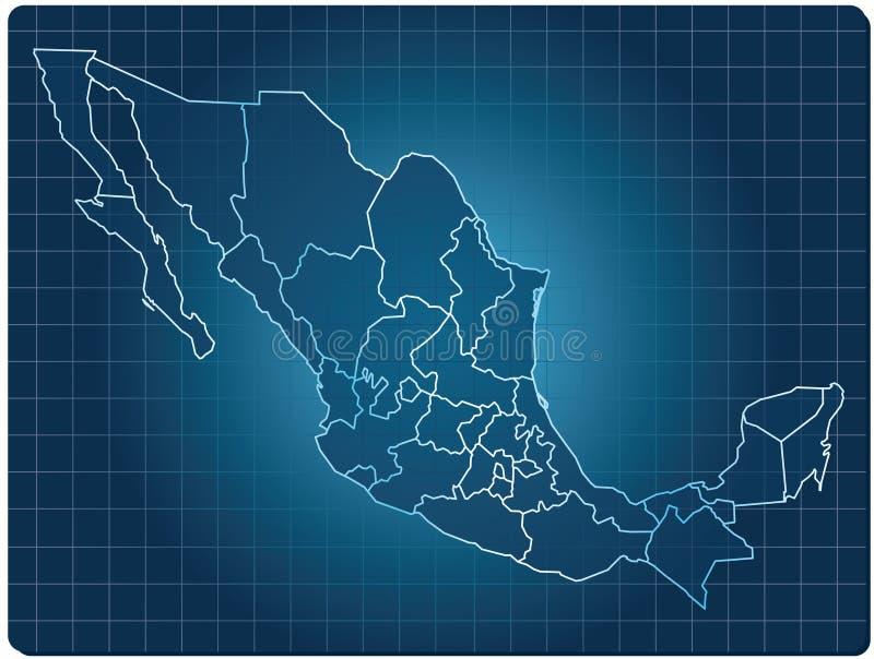 Mapa da obscuridade de México ilustração stock