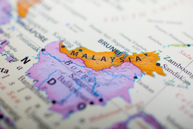Mapa da parte de Malásia ao lado de Brunei Darussalam foto de stock royalty free
