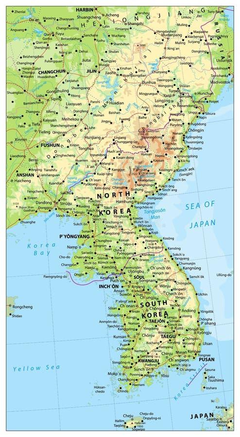 Mapa da península da Coreia, mapa do Norte e Sul Coreia ilustração stock