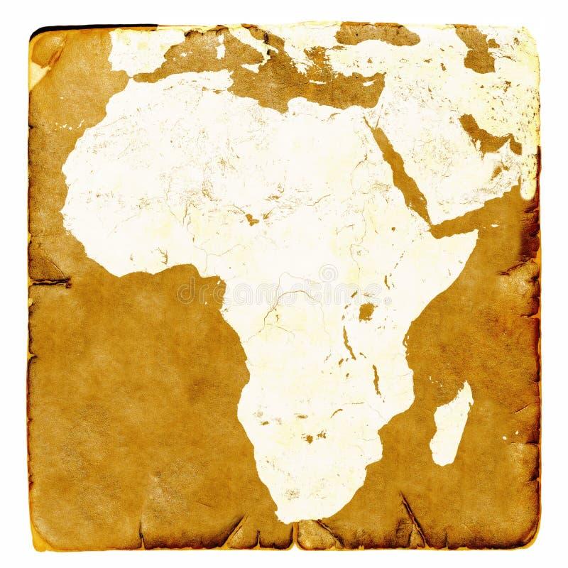 Mapa da placa de África no estilo antigo Gráficos de Brown em um modo retro no papel antigo e danificado Imagem básica da NASA da foto de stock