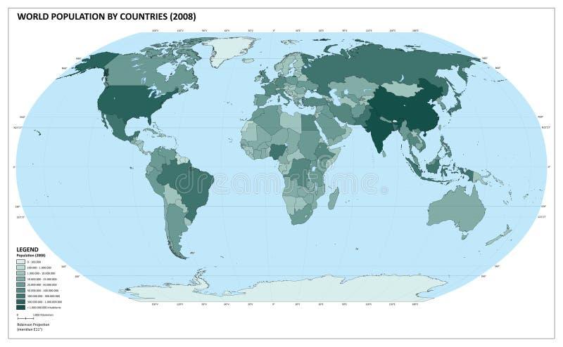 Mapa da população do mundo (vetor) ilustração do vetor