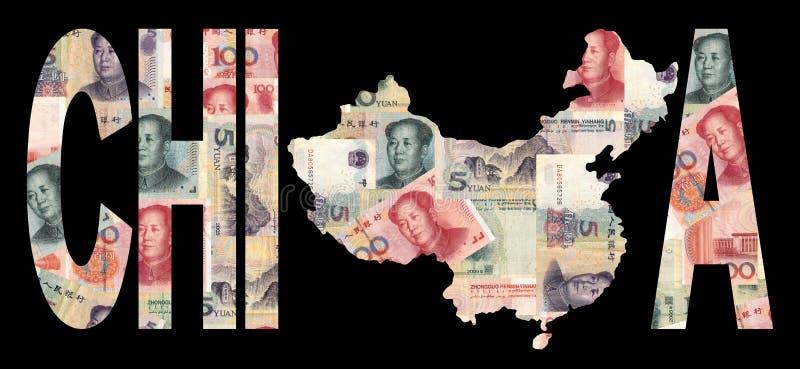 Mapa da porcelana com moeda ilustração stock