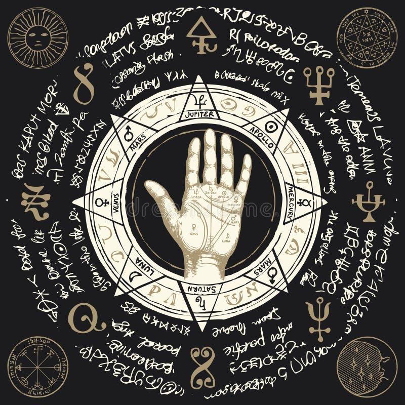 Mapa da quiromancia na palma aberta com símbolos mágicos velhos ilustração stock