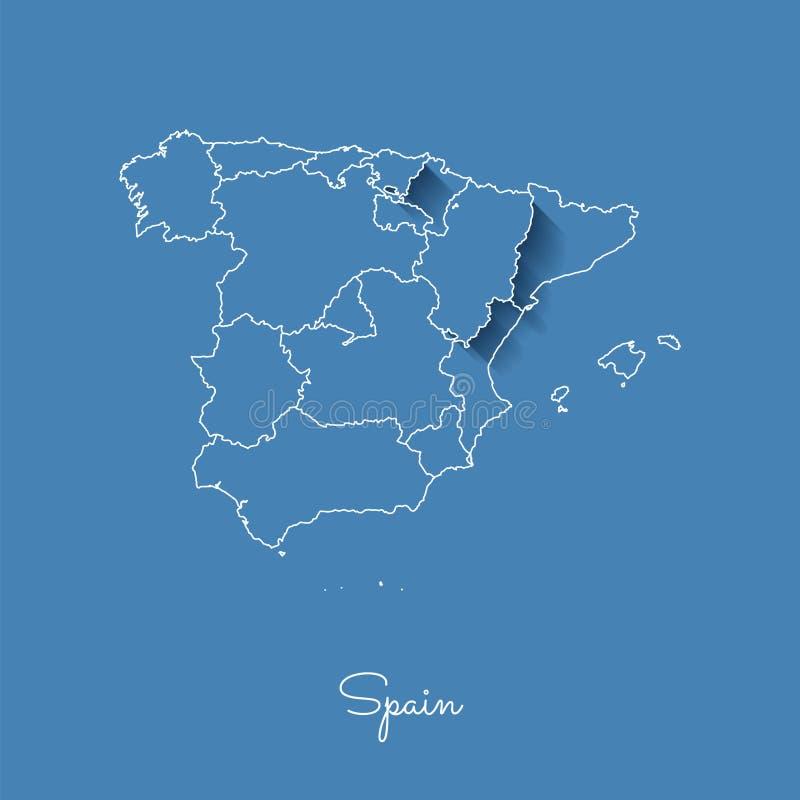 Mapa da região da Espanha: azul com esboço branco e ilustração do vetor