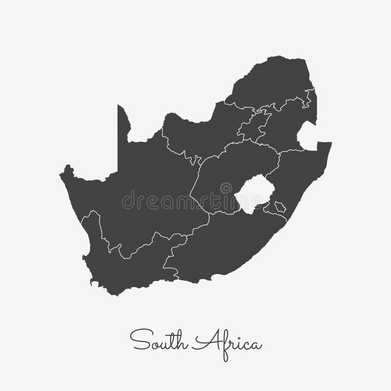 Mapa da região de África do Sul: esboço cinzento no branco ilustração royalty free