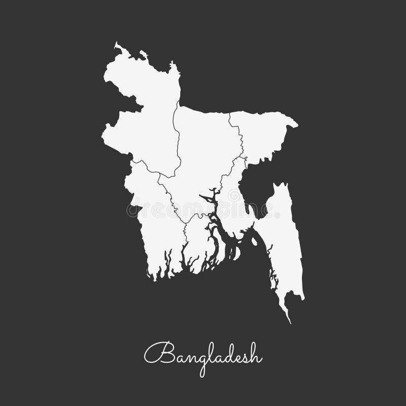 Mapa da região de Bangladesh: esboço branco no cinza ilustração do vetor