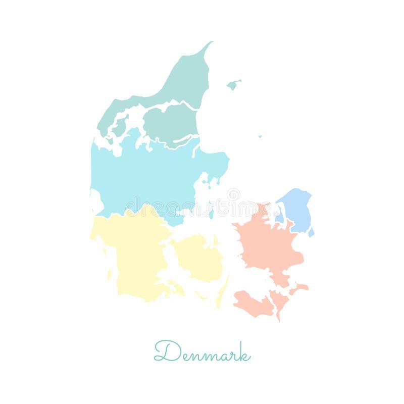 Mapa da região de Dinamarca: colorido com esboço branco ilustração do vetor