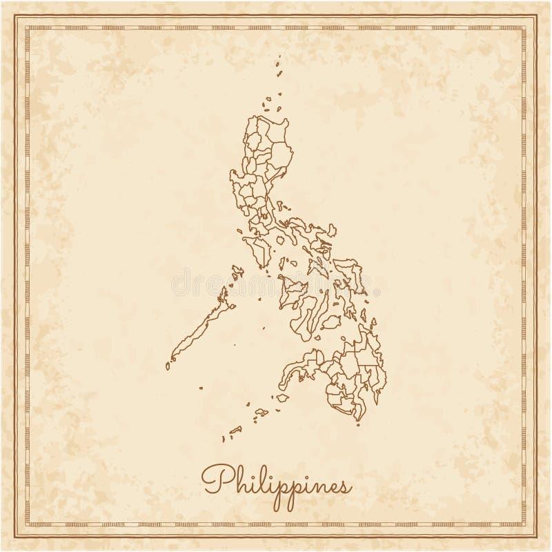 Mapa da região de Filipinas: pirata idoso stilyzed ilustração royalty free