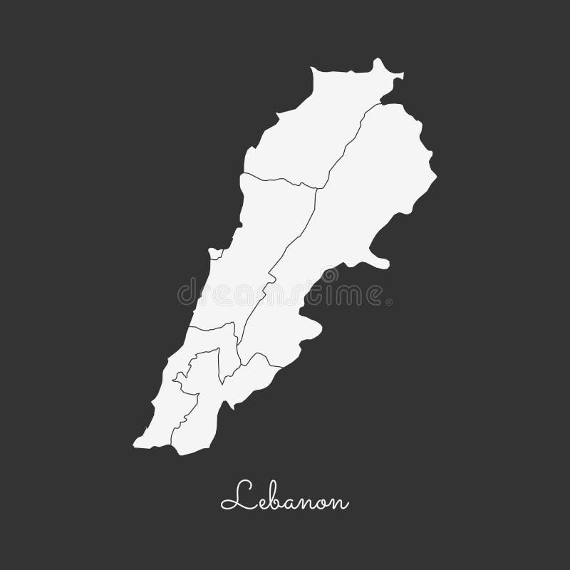 Mapa da região de Líbano: esboço branco no cinza ilustração stock