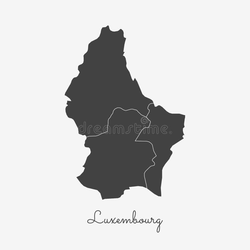 Mapa da região de Luxemburgo: esboço cinzento no branco ilustração do vetor