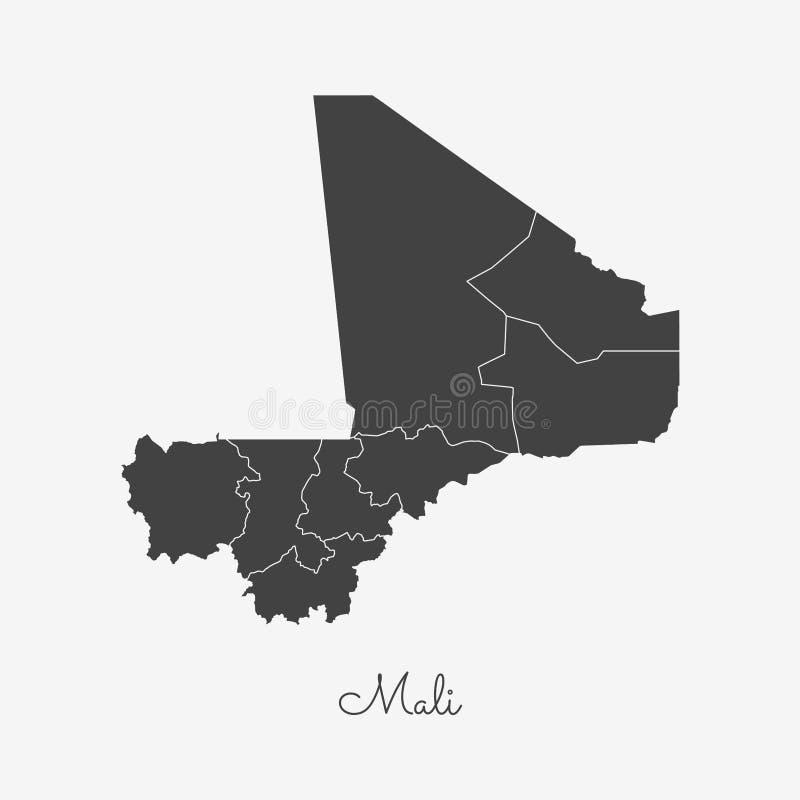 Mapa da região de Mali: esboço cinzento no fundo branco ilustração royalty free