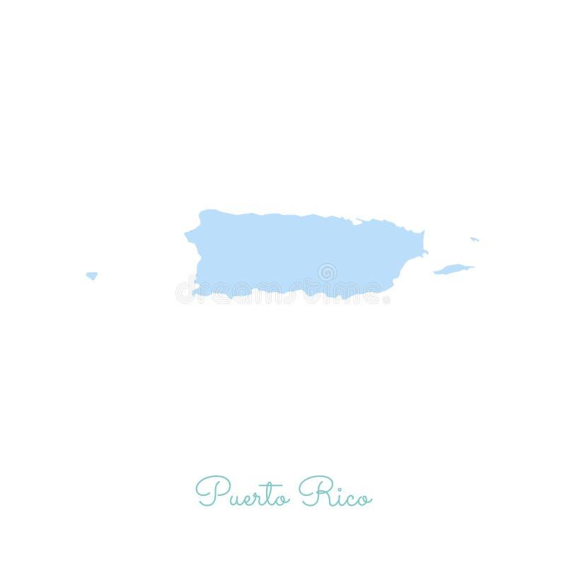Mapa da região de Porto Rico: colorido com branco ilustração royalty free