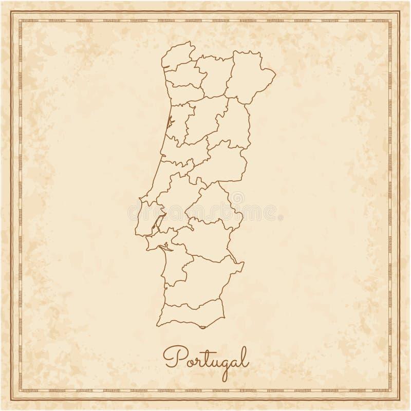 Mapa da região de Portugal: pirata idoso stilyzed ilustração royalty free