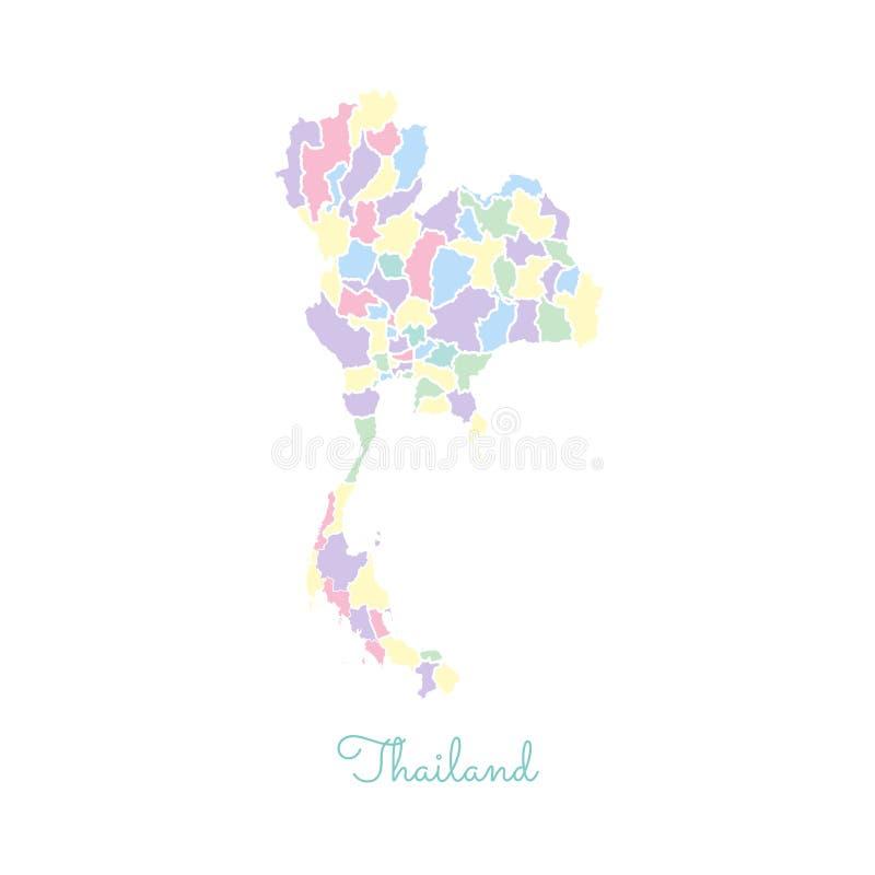 Mapa da região de Tailândia: colorido com esboço branco ilustração royalty free