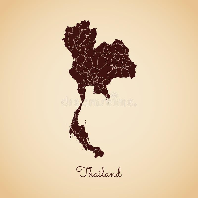 Mapa da região de Tailândia: esboço retro do marrom do estilo sobre ilustração stock