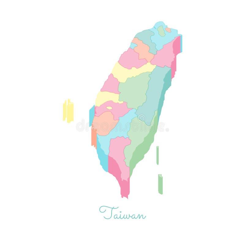 Mapa da região de Taiwan: vista superior isométrica colorida ilustração do vetor