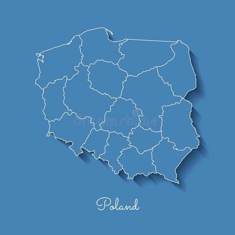 Mapa da região do Polônia: azul com esboço branco e ilustração do vetor