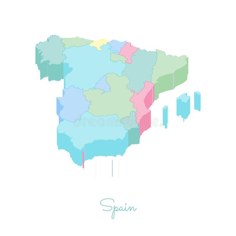 Mapa da região da Espanha: vista superior isométrica colorida ilustração do vetor