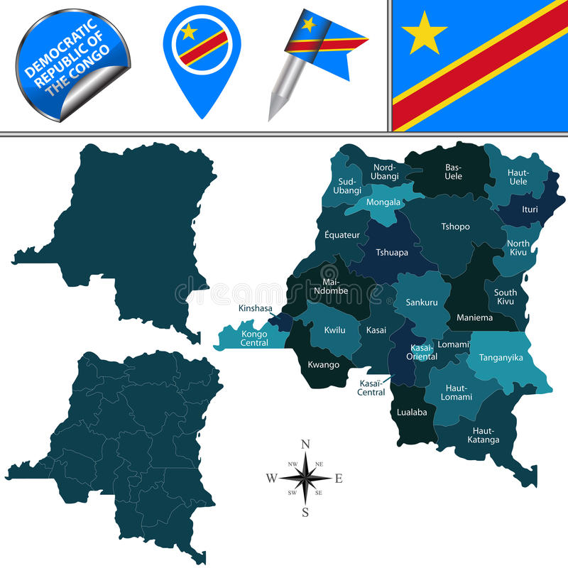 Mapa da República Democrática do Congo Democrática ilustração do vetor