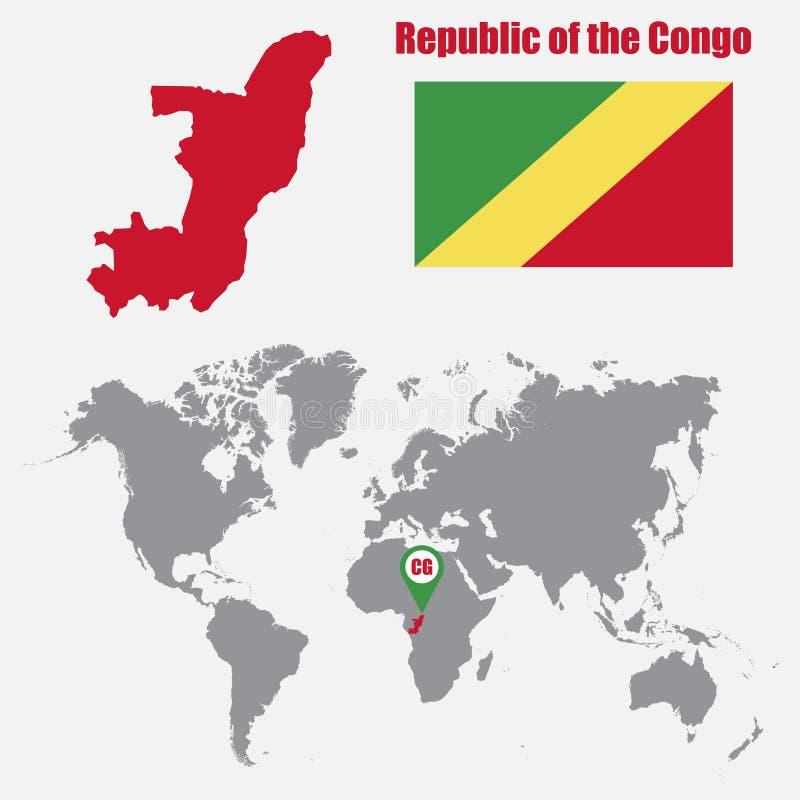 Mapa da República Democrática do Congo em um mapa do mundo com o ponteiro da bandeira e do mapa Ilustração do vetor ilustração royalty free