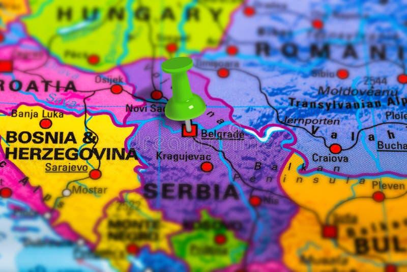 Mapa da Sérvia de Belgrado fotografia de stock