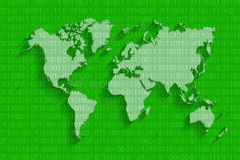 Mapa da segurança do cyber do mundo Internet do Cyberspace Fundo da tecnologia de Digitas ilustração do vetor
