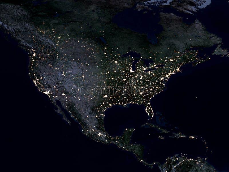 Mapa da terra, America do Norte, noite ilustração stock