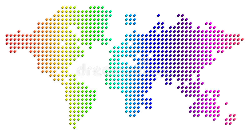 Mapa da terra de esferas de vidro espectrais ilustração royalty free