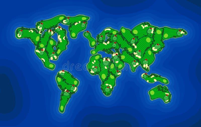 Mapa da terra do campo de golfe ilustração stock